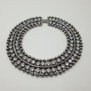 Peeptoe Victoria Necklace Silver Crystal Statement Necklace